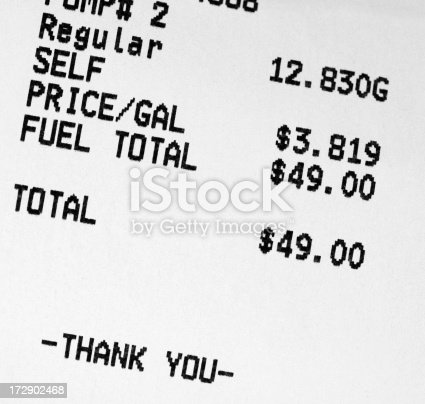 Close up of gasoline receipt.   See my other financial shots