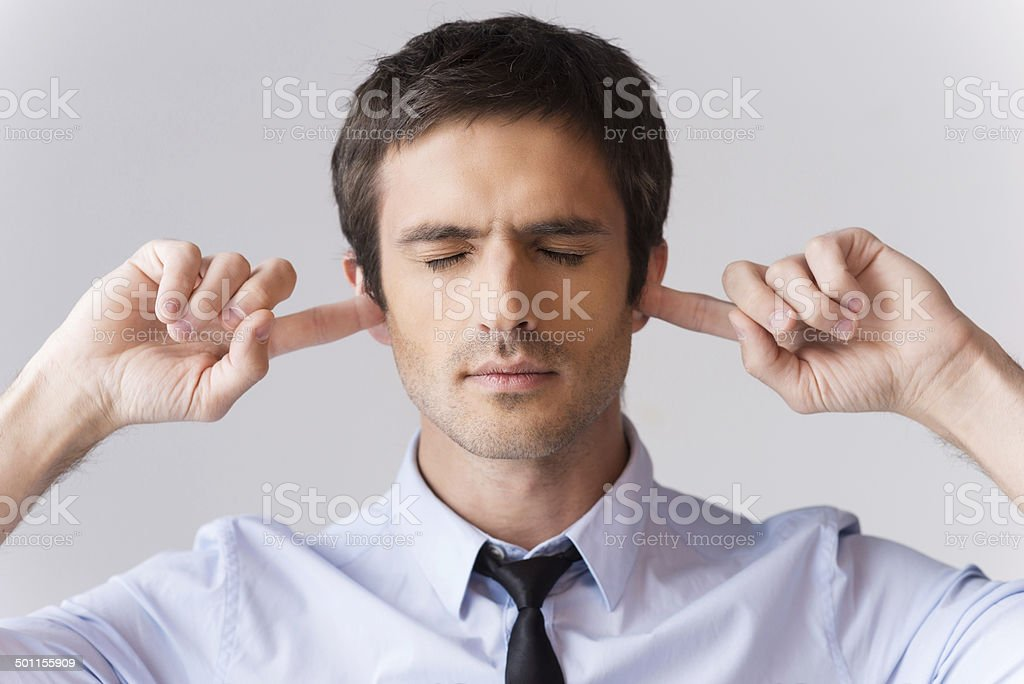 Too loud for me. stock photo