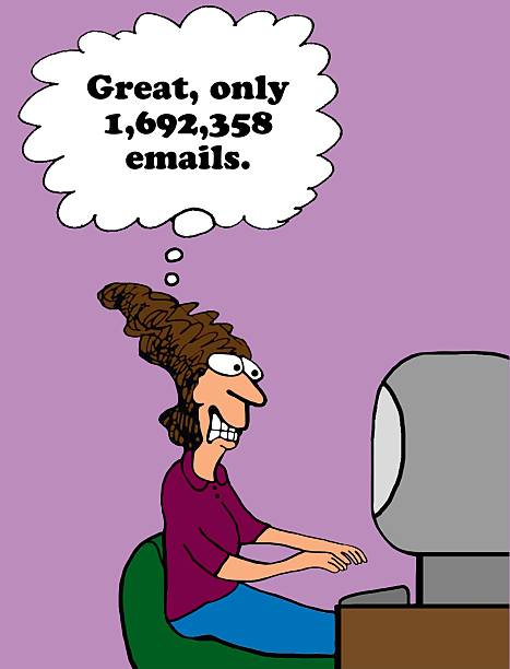 Too Many Emails Business cartoon about email overload. ASAP stock pictures, royalty-free photos & images