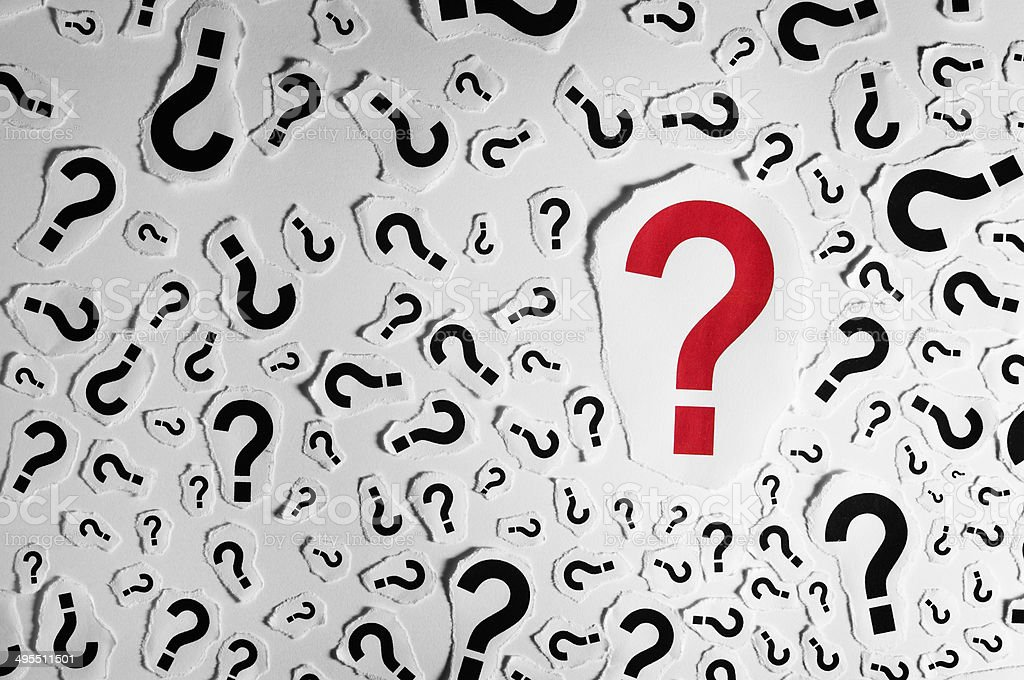 Too Many Question Marks Background Stock Photo