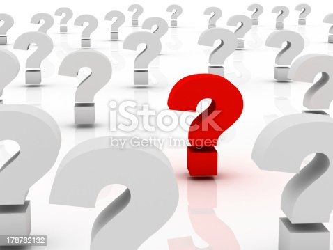 istock Too Many Question marks, only one red 178782132