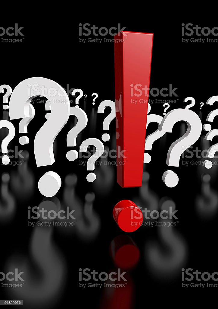 Too Many Questions, only one exclamation mark! 3d rendering royalty-free stock photo