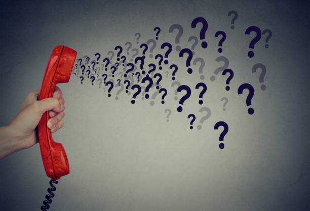 too many questions over the phone stock photo