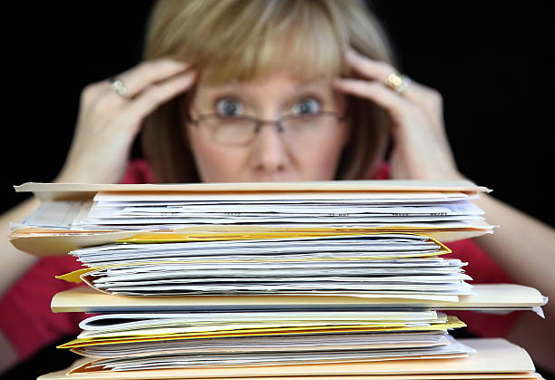 Too Much Paperwork stock photo