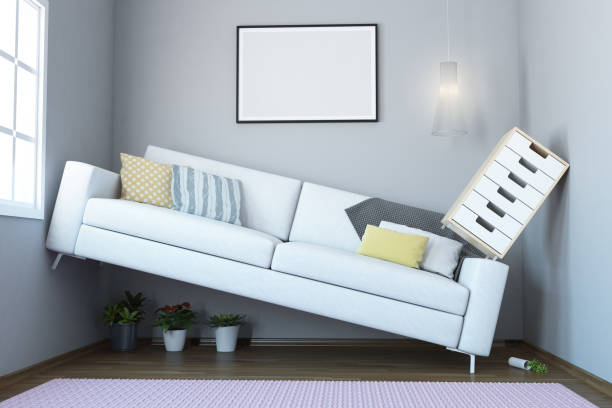 Too Small Living Room Interior Space Problem In small Living Room Interior. ( 3d render ) narrow stock pictures, royalty-free photos & images
