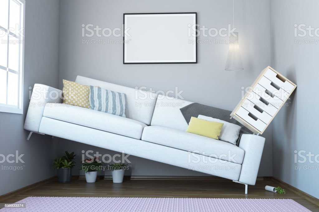 Too Small Living Room Interior stock photo