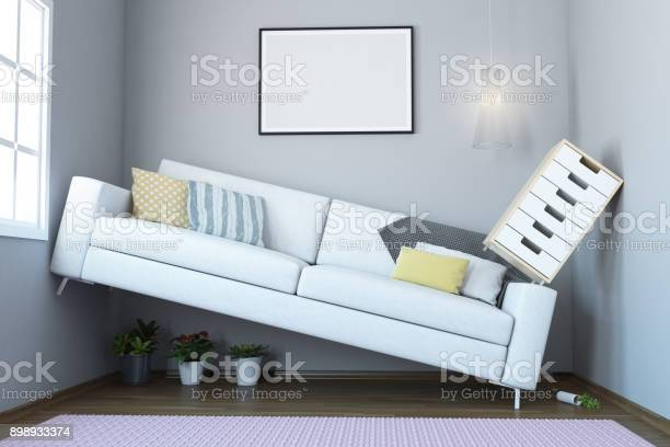 Space Problem In small Living Room Interior. ( 3d render )