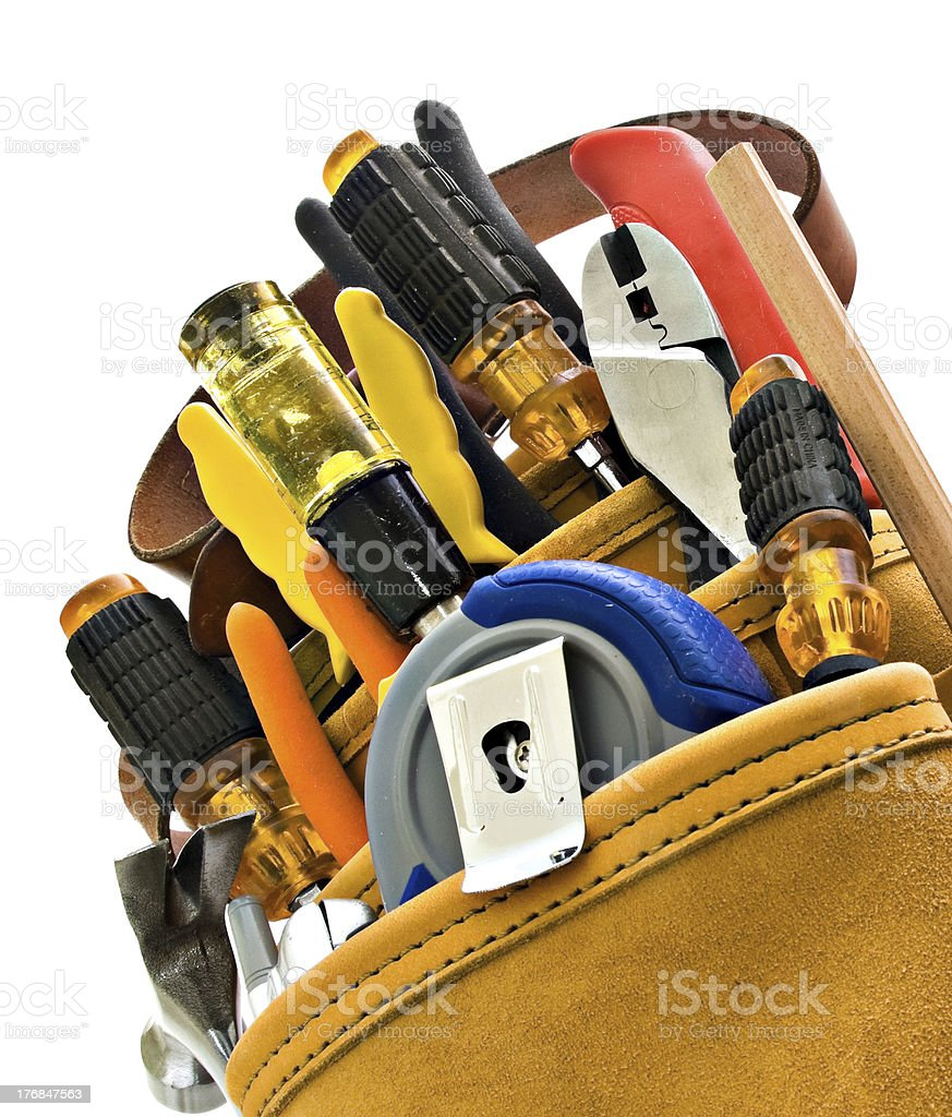 Tool Belt for Construction Worker Carpenter, Isolated on White royalty-free stock photo