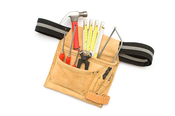 tool belt on white background - tool belt stock photos and pictures