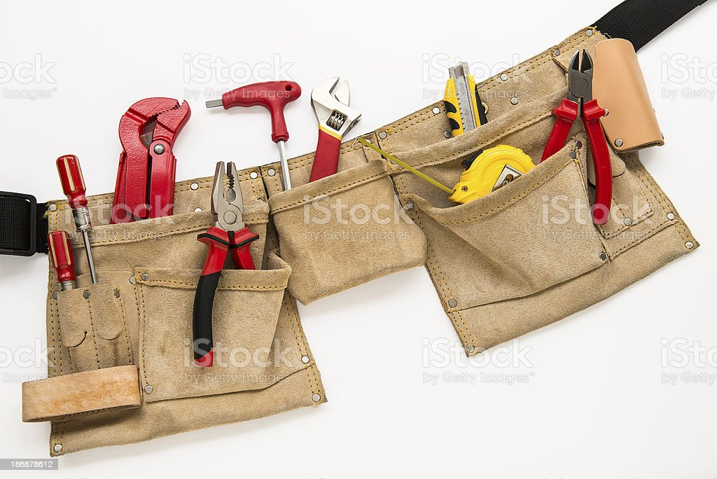 Tool belt with tools stock photo
