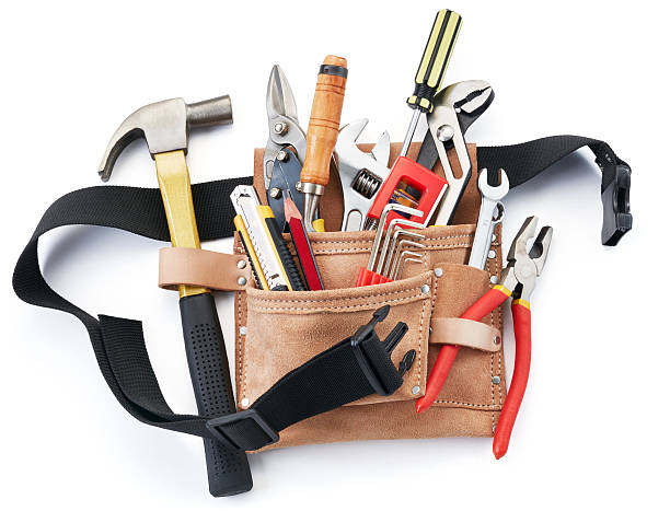 tool belt with tools - tool belt stock photos and pictures