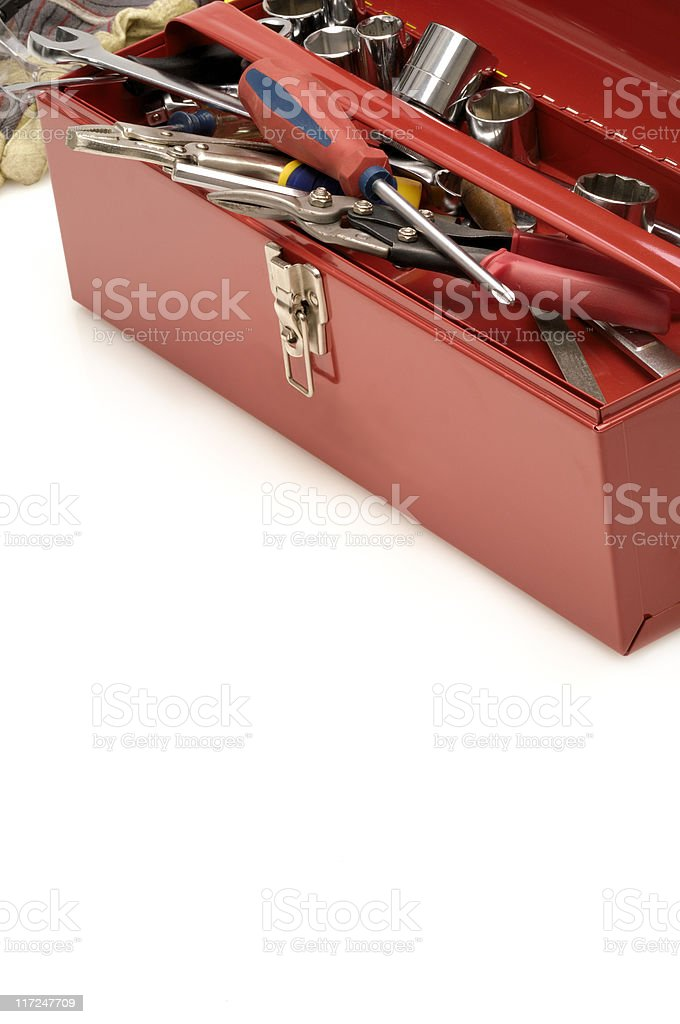 Tool box and copy space royalty-free stock photo