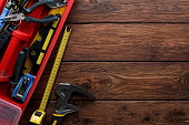 istock Tool box set containing different equipment and tape-measure 942252284