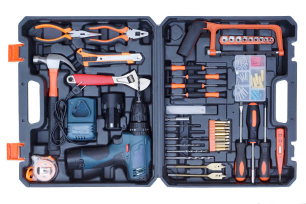 Tool box set for mechanic stock photo