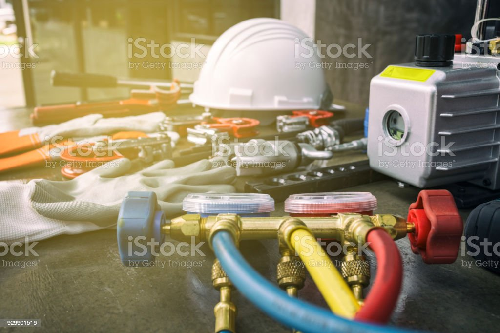Tool for air conditioner maintenance stock photo