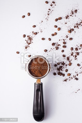 istock Tool for making professional espresso coffee on a gray table 1151136302