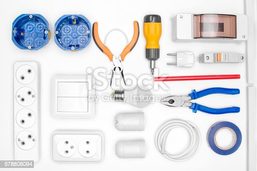 istock tool set for electrician 578808094