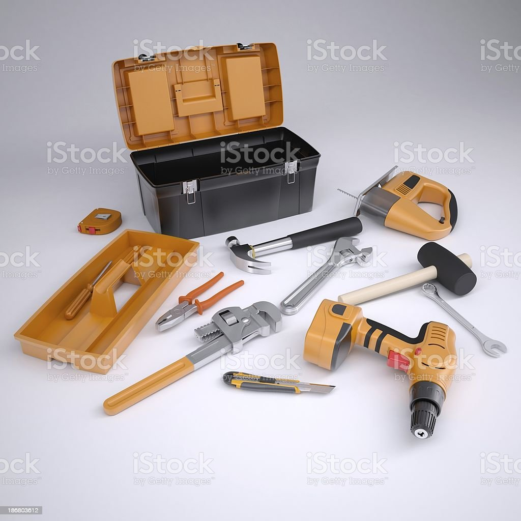 Toolbox and tools royalty-free stock photo