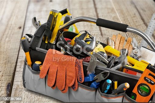 Set of tools and instruments in  box isolated on background
