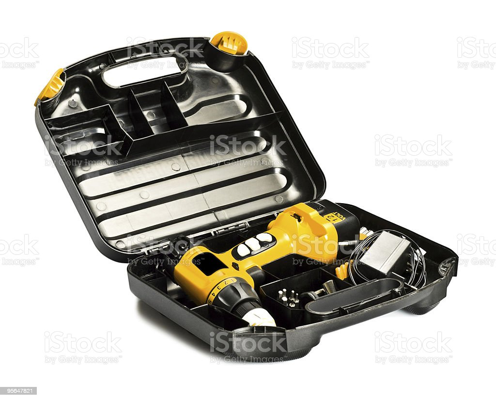 toolbox with yellow drill set royalty-free stock photo