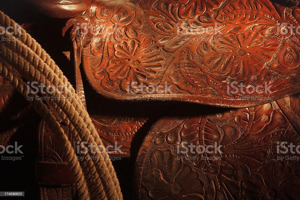 Tooled Leather Saddle stock photo