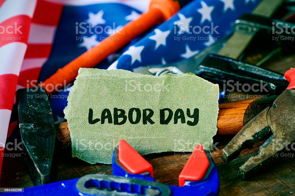 tools, American flag and text labor day stock photo