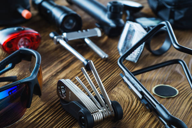 Tools and accessories set for cycling. stock photo