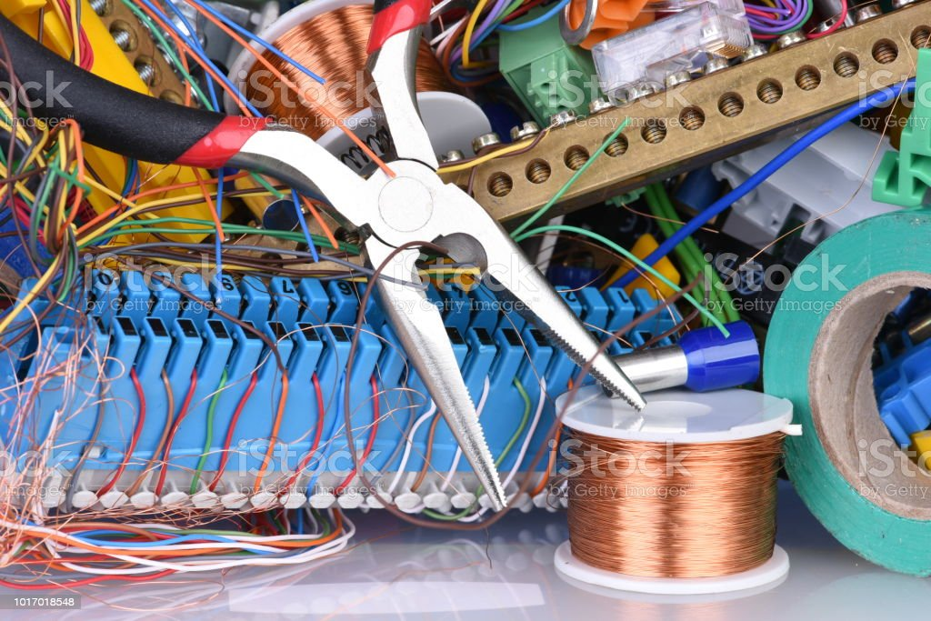 Pleasing Tools And Cables Used In Electrical Home Installation Stock Photo Wiring 101 Akebretraxxcnl