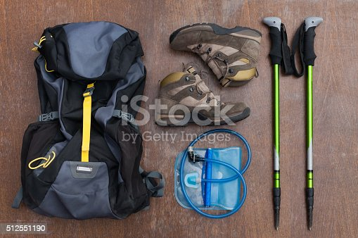 istock Tools and equipment for a hiker 512551190