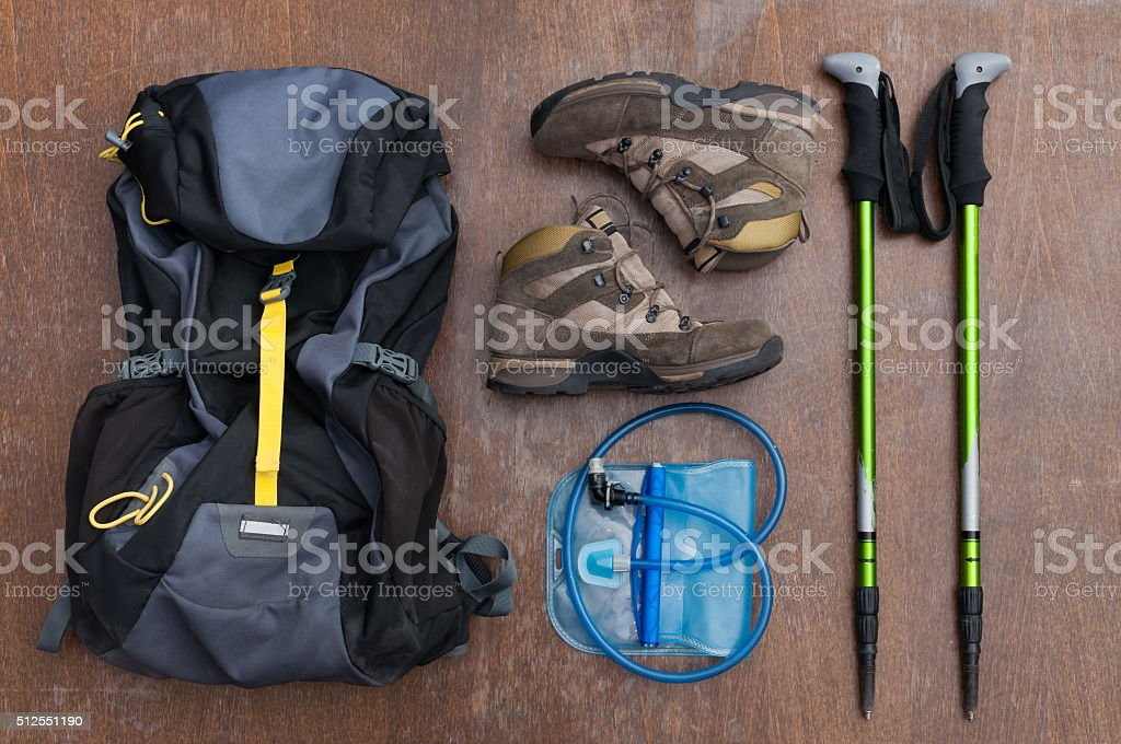 Tools and equipment for a hiker stock photo
