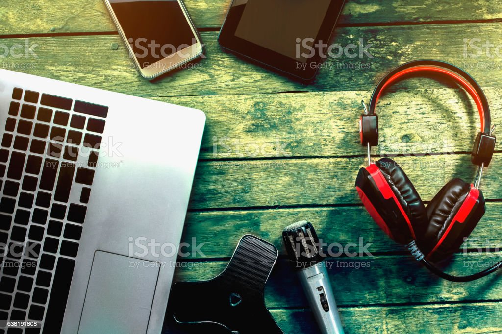 Tools and equipment to record analog and digital background wooden stock photo