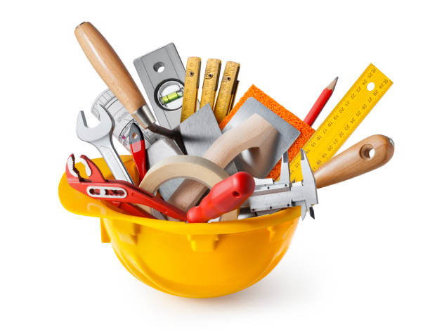 Tools and hard hat stock photo