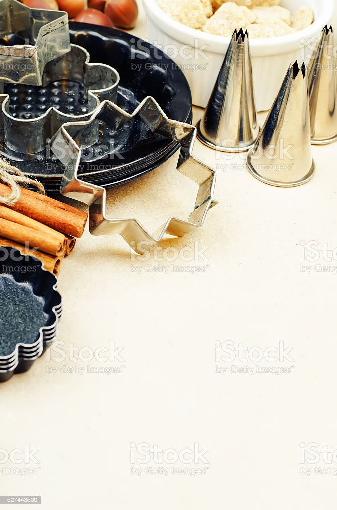 tools and ingredients for baking stock photo