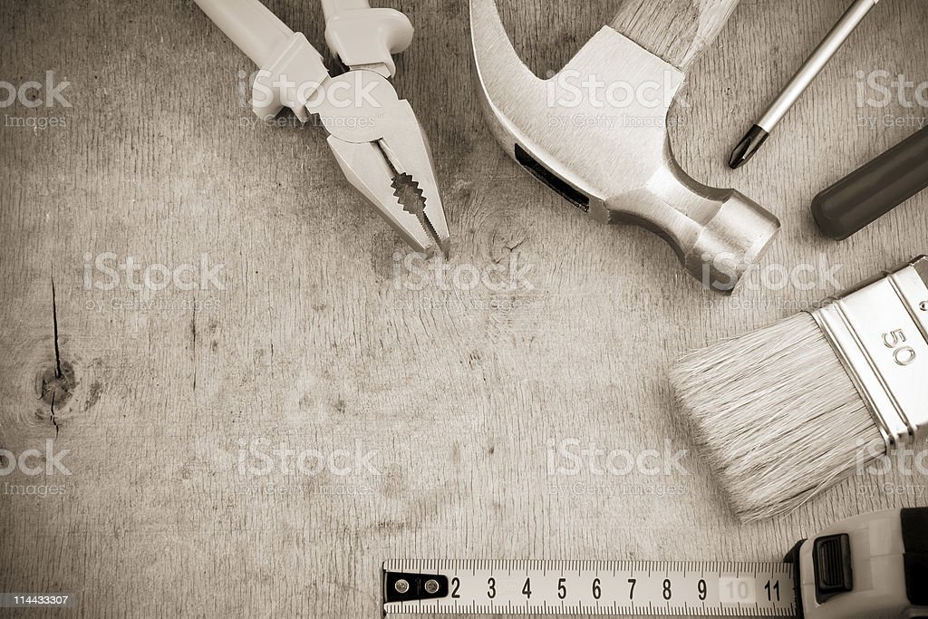 tools and instruments on wood board royalty-free stock photo