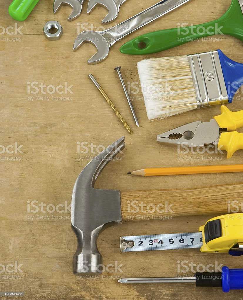 tools and instruments on wood royalty-free stock photo
