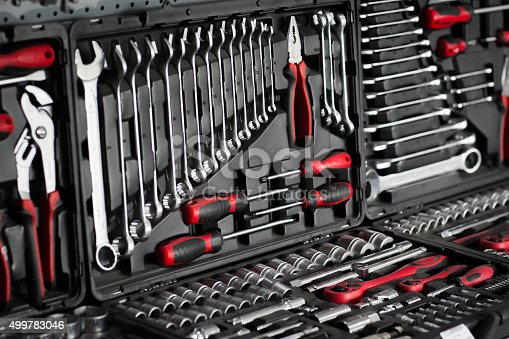 1155772265 istock photo Tools and toolbox on shop (store) showcase 499783046