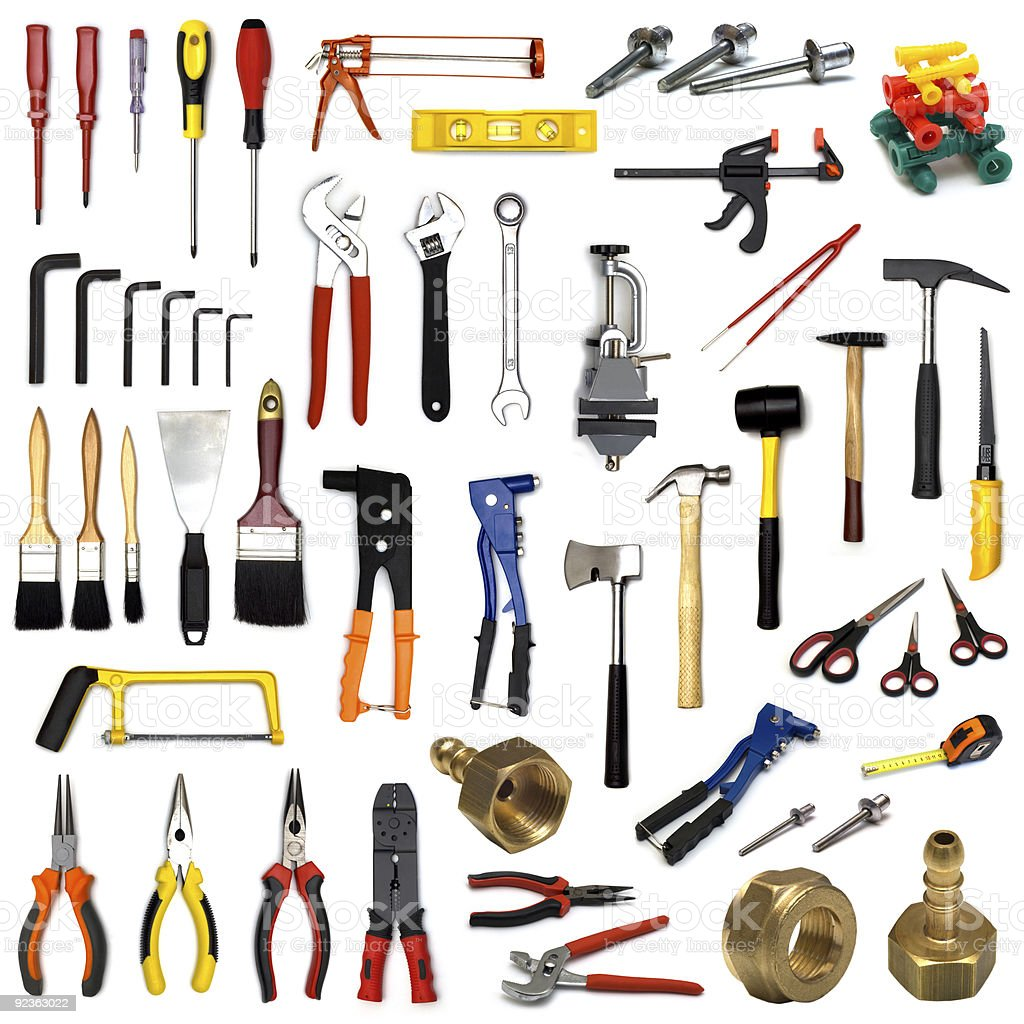 tools collection on white background royalty-free stock photo