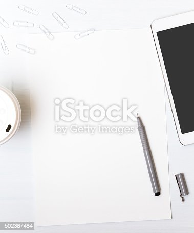 istock Tools designer. Behind a desk. In the process of creation 502387484