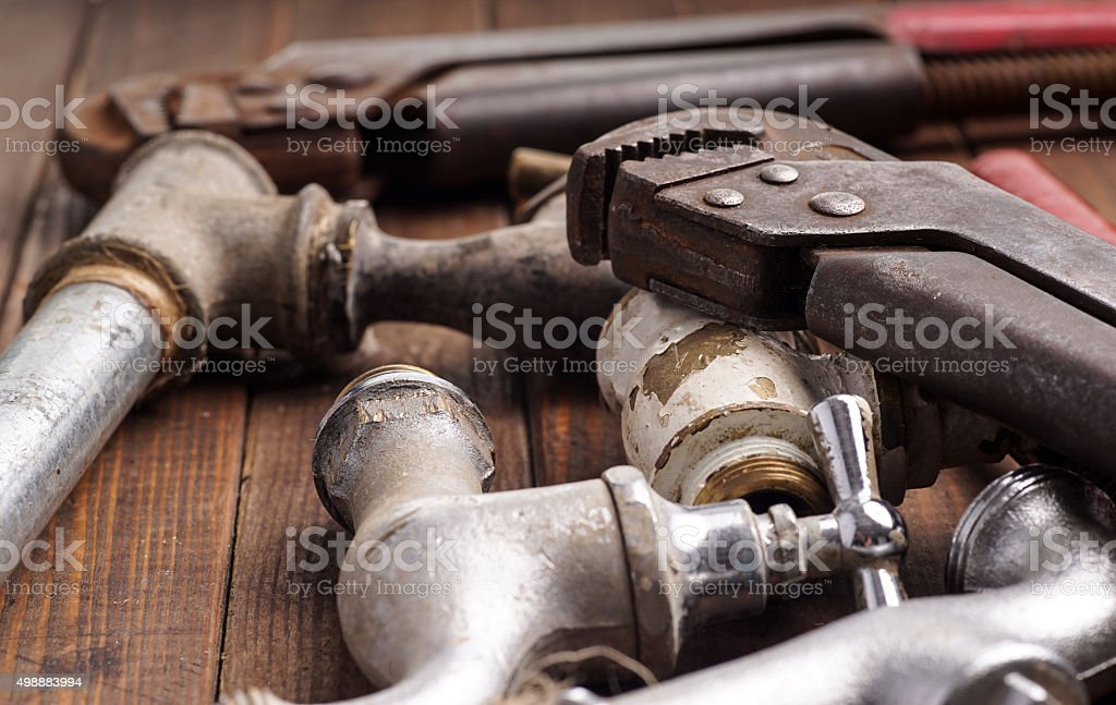 tools faucets pipes stock photo