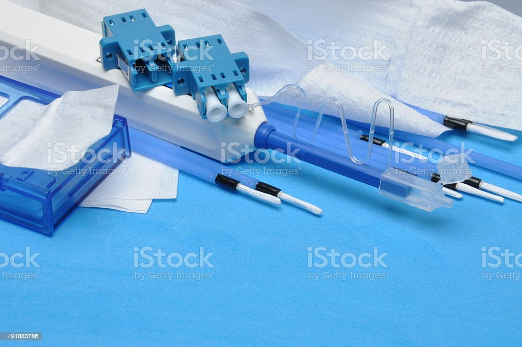 Tools, fiber optic cleaning kit with place on text stock photo