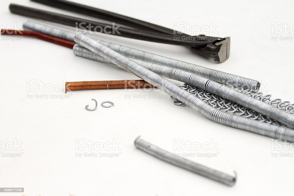 Tools for a chainmail artisan stock photo