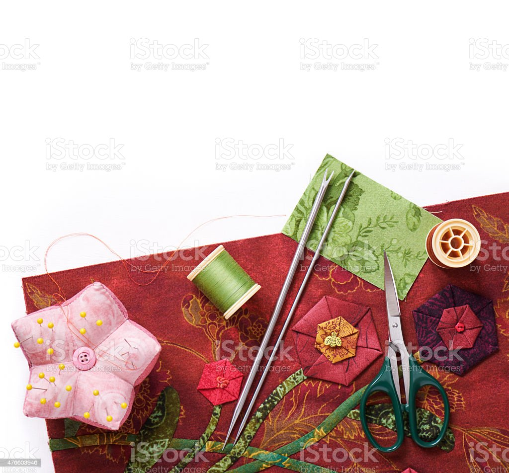 Tools for applique to fabric stock photo