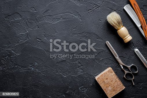 istock Tools for cutting beard barbershop top view 626805820