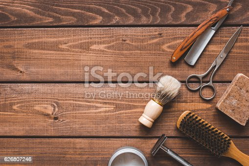 istock Tools for cutting beard barbershop top view 626807246