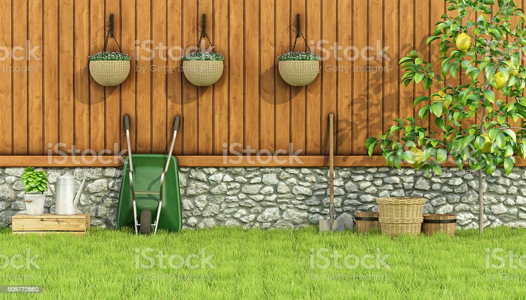 Tools for gardening in a garden stock photo
