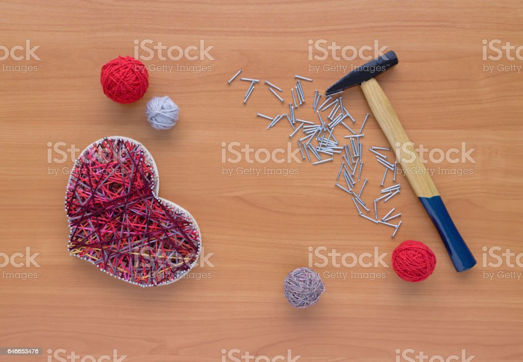 Tools For Handiwork In Stile String Art On Wooden Table Stock Photo