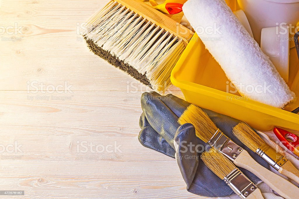 Tools for painting walls and floors The tool for painting walls floors and ceilings 2015 Stock Photo