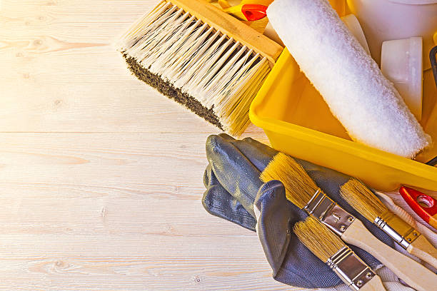 Tools for painting walls and floors stock photo
