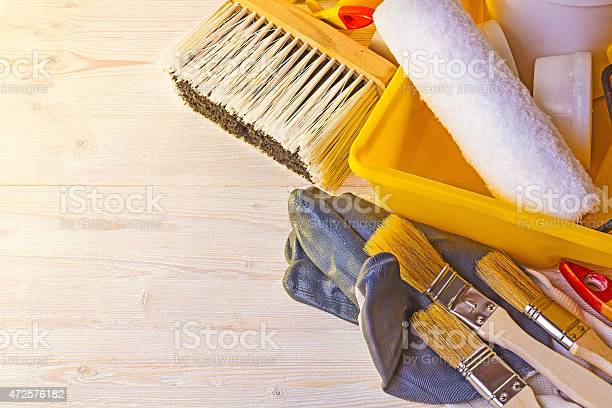 Tools For Painting Walls And Floors Stock Photo - Download Image Now