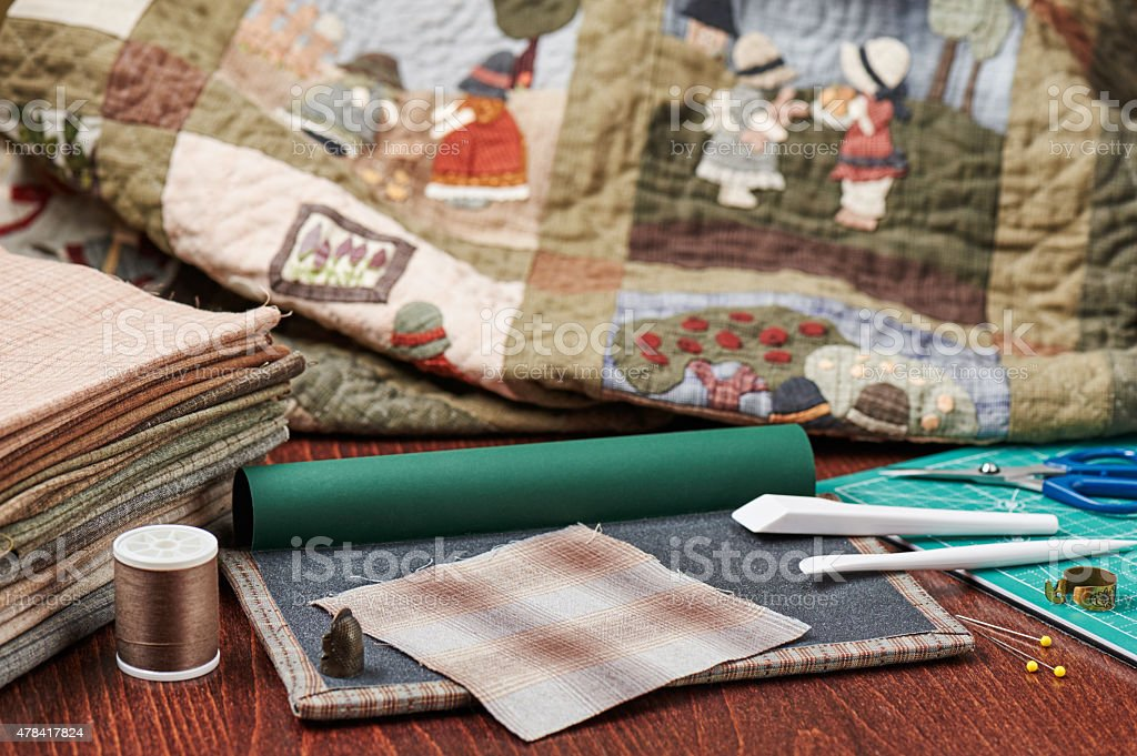 Tools for Quilt Applique stock photo